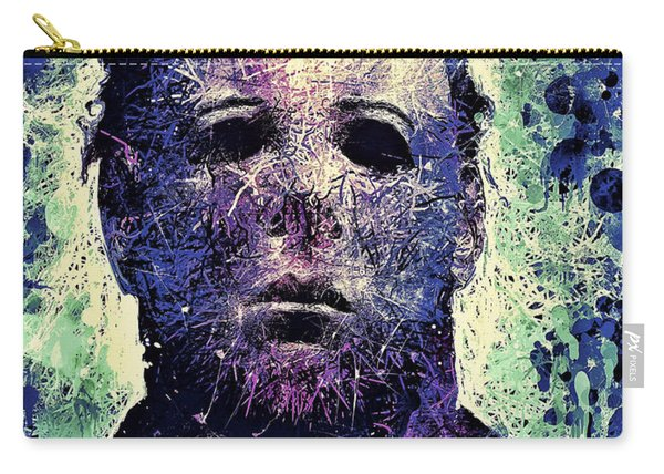 Carry-all Pouch featuring the mixed media Michael Myers by Al Matra