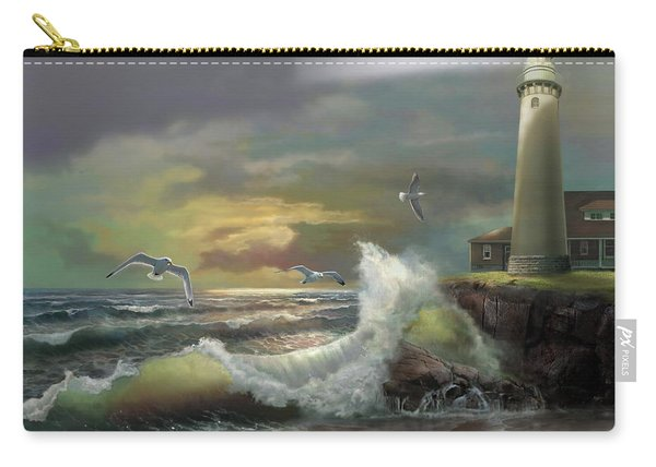 Michigan Seul Choix Point Lighthouse With An Angry Sea Carry-all Pouch