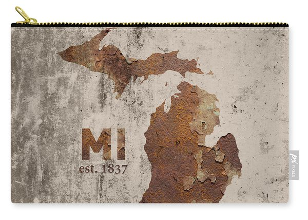 Michigan State Map Industrial Rusted Metal On Cement Wall With Founding Date Series 005 Carry-all Pouch
