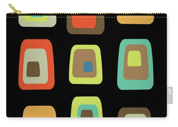 Mid Century Modern Oblongs On Black Carry-all Pouch