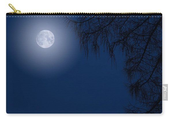 Midnight Moon And Night Tree Silhouette Carry-all Pouch
