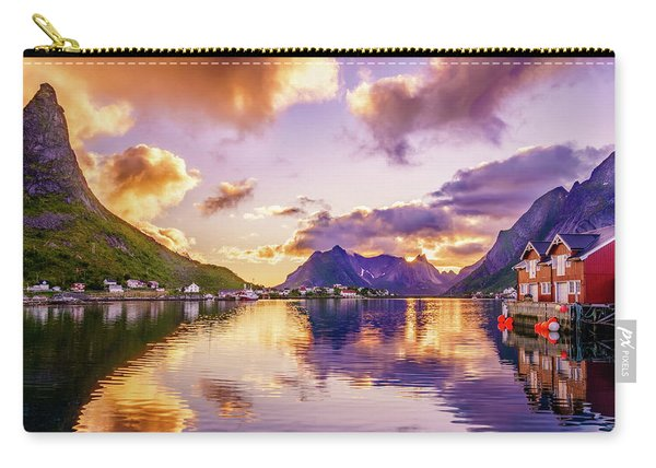 Carry-all Pouch featuring the photograph Midnight Sun Reflections In Reine by Dmytro Korol