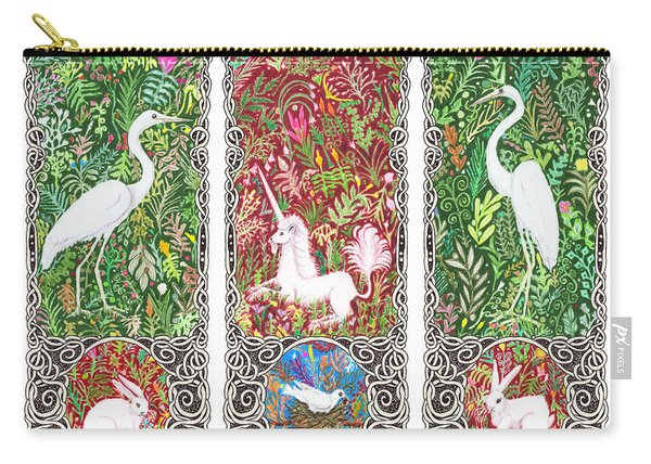 Millefleurs Triptych With Unicorn, Cranes, Rabbits And Dove Carry-all Pouch