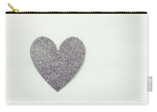 Minimalistic Silver Glitter Heart Carry-all Pouch