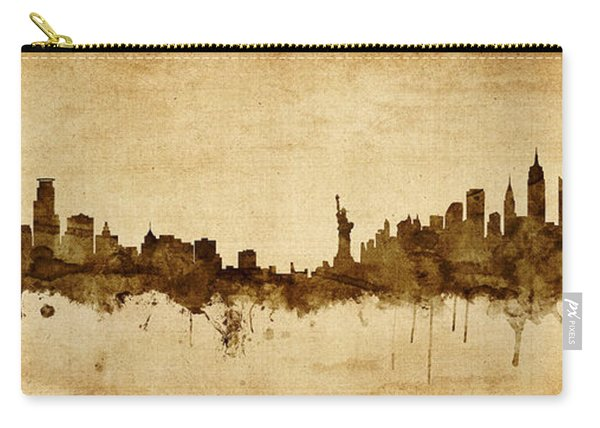 Minneapolis And New York Skyline Mashup Carry-all Pouch
