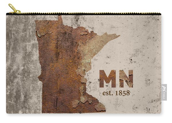 Minnesota State Map Industrial Rusted Metal On Cement Wall With Founding Date Series 036 Carry-all Pouch