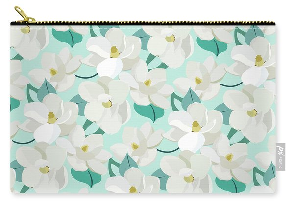 Mint Magnolias Carry-all Pouch