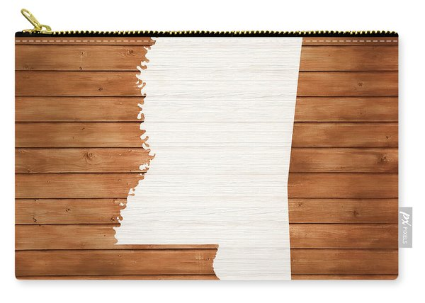 Mississippi Rustic Map On Wood Carry-all Pouch