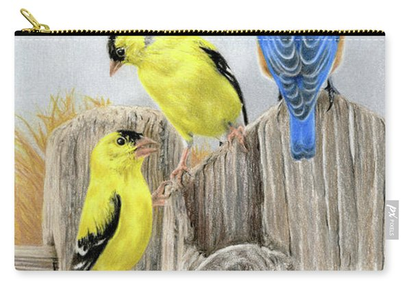 Misty Morning Meadow- Goldfinches And Bluebird Carry-all Pouch