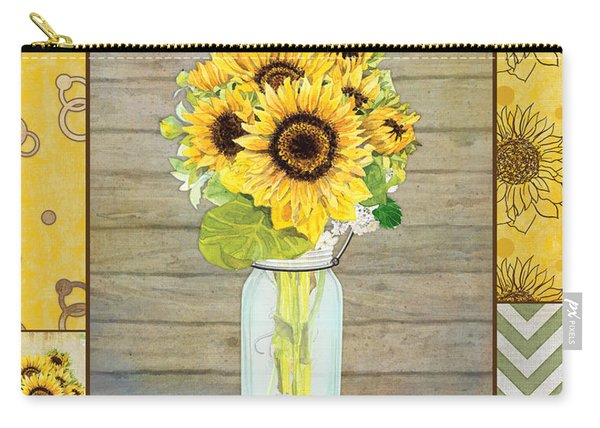 Modern Rustic Country Sunflowers In Mason Jar Carry-all Pouch
