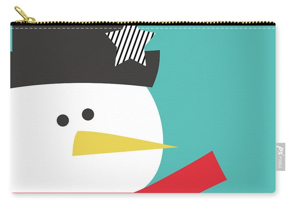 Modern Snowman With Star- Art By Linda Woods Carry-all Pouch