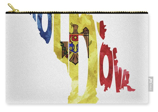 Moldova Typographic Map Flag Carry-all Pouch