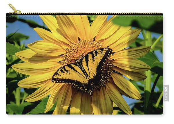 Male Eastern Tiger Swallowtail - Papilio Glaucus And Sunflower Carry-all Pouch