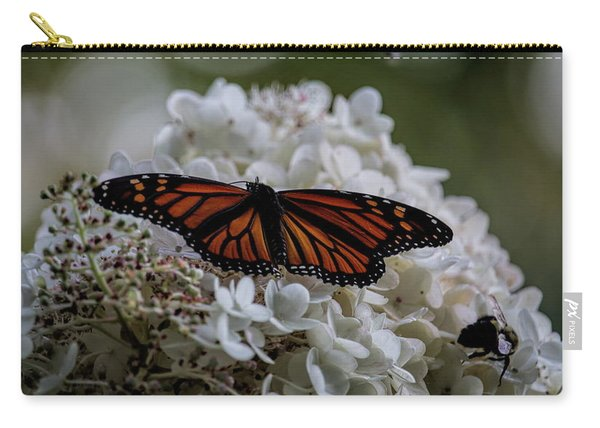 Monarch Butterfly Feeding On Hydrangea Tree Carry-all Pouch