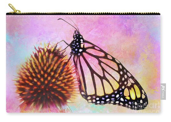 Monarch Butterfly On Coneflower Abstract Carry-all Pouch