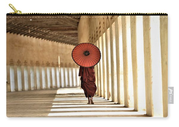 Monk With Umbrella Walking In Th Light Passway Carry-all Pouch