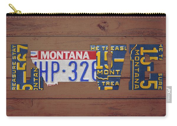 Montana State Love Heart License Plates Art Phrase Carry-all Pouch