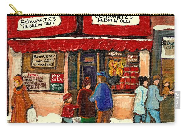Montreal Hebrew Delicatessen Schwartzs By Montreal Streetscene Artist Carole Spandau Carry-all Pouch