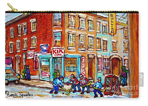 Montreal Storefront Paintings Debullion Street Hockey Art Quebec Winterscenes C Spandau Canadian Art Carry-all Pouch