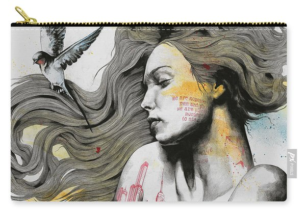 Monument - Long Hair Girl With Bird And Skyline Tattoo Carry-all Pouch