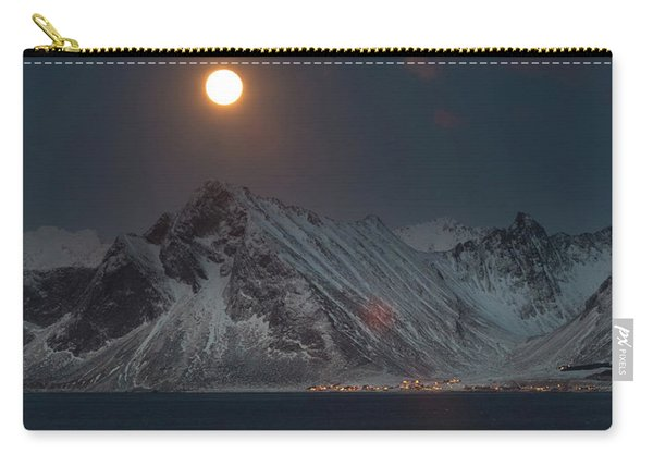 Moon And Mountains In Lofoten Carry-all Pouch