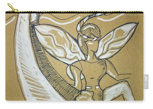 Carry-all Pouch featuring the drawing Moon Fairy by Loretta Nash
