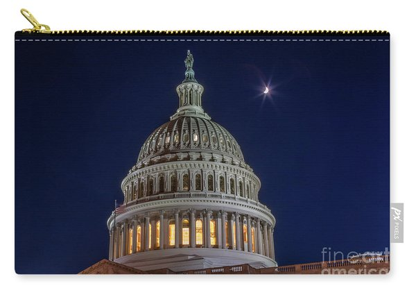 Moon Over The Washington Capitol Building Carry-all Pouch