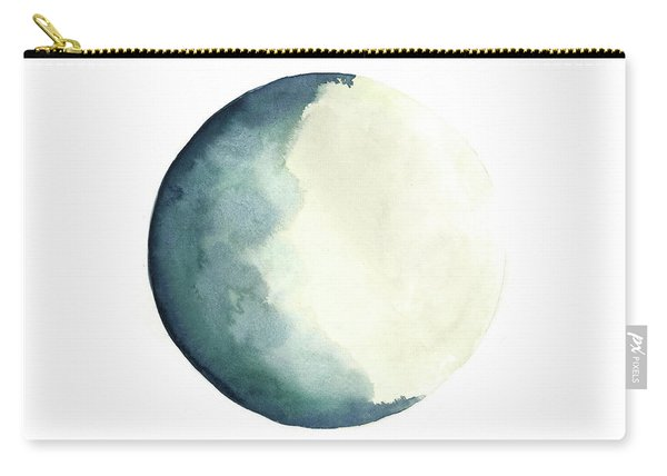 Moon Phases Watercolour Painting, Blue Vanilla Beige Crescent Moon Art, Luna Astrology Print Carry-all Pouch