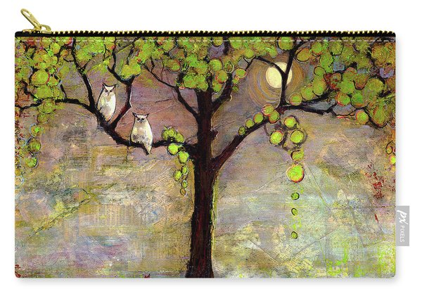 Moon River Tree Owls Art Carry-all Pouch