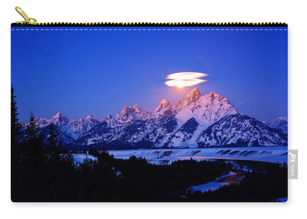 Moon Sets At The Snake River Overlook In The Tetons Carry-all Pouch