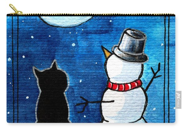 Moon Watching With Snowman - Christmas Cat Carry-all Pouch