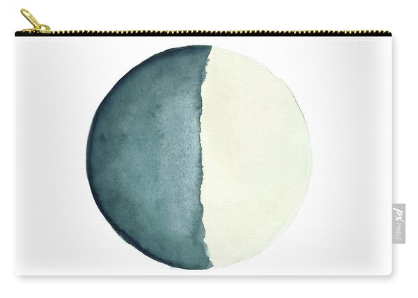 Moon Watercolor Painting, Blue Living Room Decor Solar System Carry-all Pouch