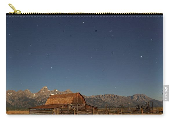 Carry-all Pouch featuring the photograph Moonlight On A Mormon Barn by Jean Clark