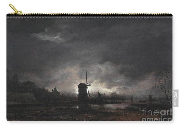 Moonlit Landscape With A Windmill Carry-all Pouch