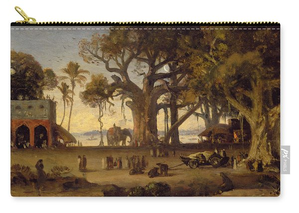 Moonlit Scene Of Indian Figures And Elephants Among Banyan Trees Carry-all Pouch