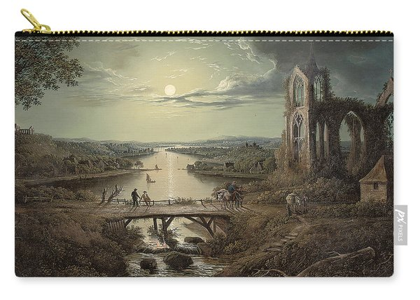 Moonlit View Of The River Tweed With Melrose Abbey In The Foreground And Figures On A Bridge Carry-all Pouch