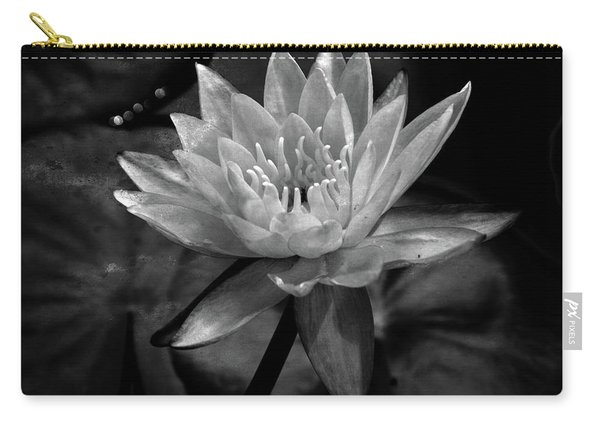 Moonlit Water Lily Bw Carry-all Pouch