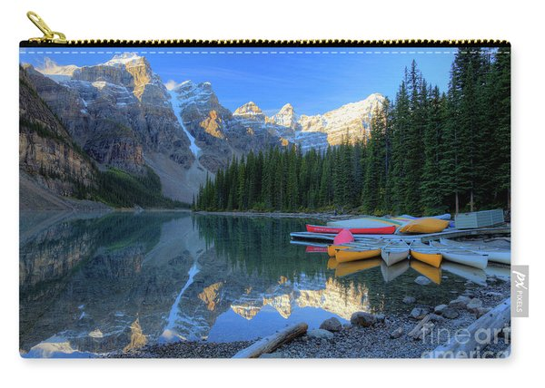 Moraine Lake Sunrise Blue Skies Canoes Carry-all Pouch
