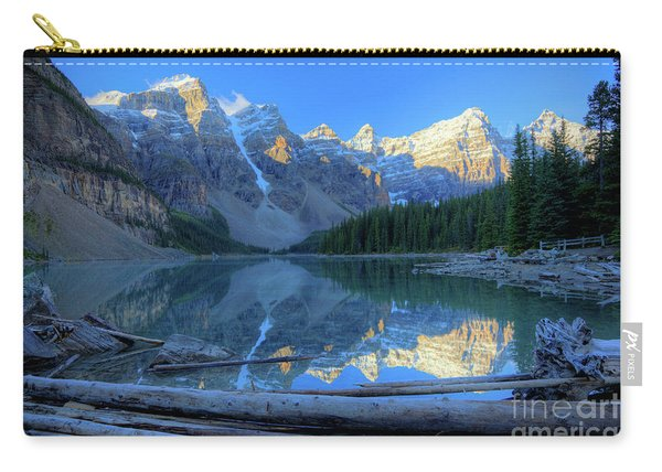 Moraine Lake Sunrise Blue Skies Logs Carry-all Pouch