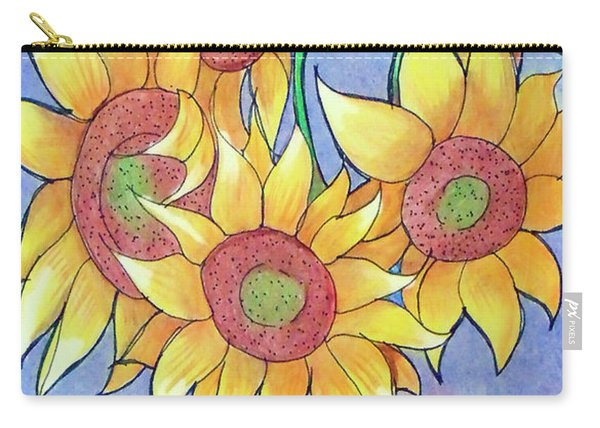 Carry-all Pouch featuring the drawing More Sunflowers by Loretta Nash