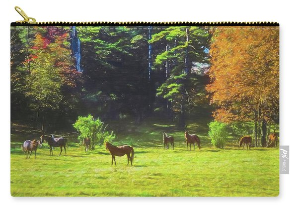 Morgan Horses In Autumn Pasture Carry-all Pouch