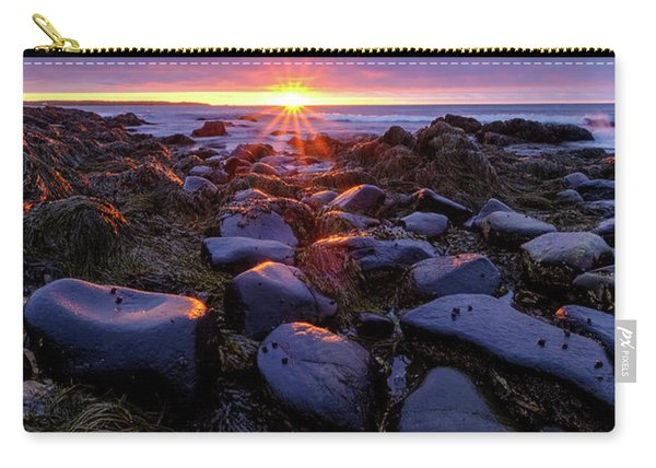 Carry-all Pouch featuring the photograph Morning Fire, Sunrise On The New Hampshire Seacoast  by Jeff Sinon