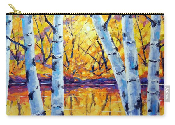 Morning Sparkle Birches By Prankearts Carry-all Pouch