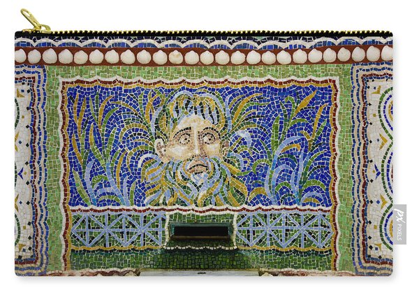 Mosaic Fountain At Getty Villa 1 Carry-all Pouch