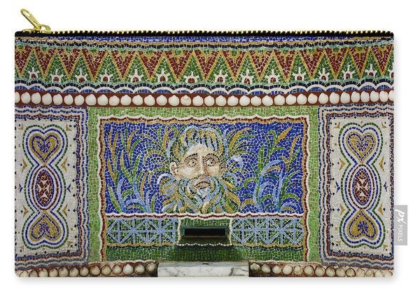 Mosaic Fountain At Getty Villa 3 Carry-all Pouch