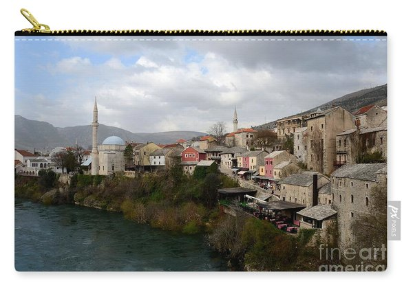 Mostar City With Mosque Minaret Medieval Architecture Neretva River Bosnia Herzegovina Carry-all Pouch