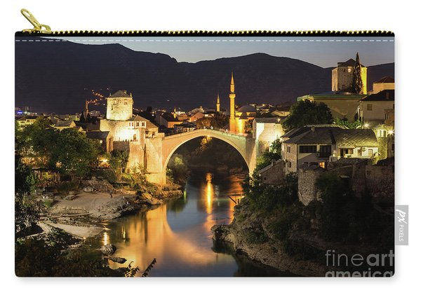 Mostar Skyline At Night Carry-all Pouch