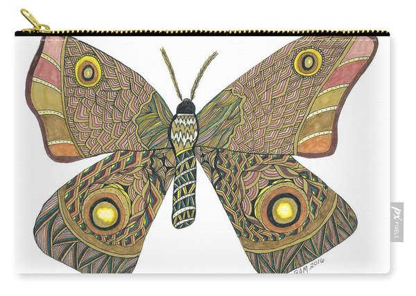 Carry-all Pouch featuring the drawing Moth by Barbara McConoughey