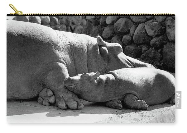 Mother And Baby Hippos Carry-all Pouch