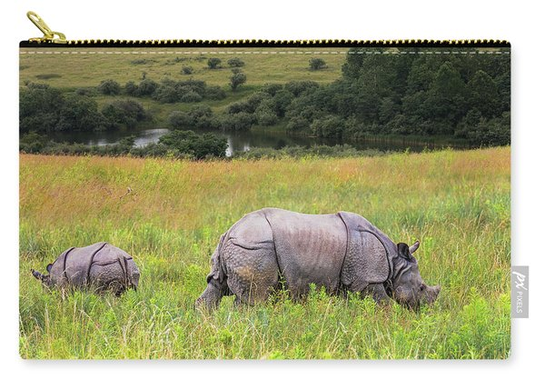 Mother And Baby Rhinos Carry-all Pouch